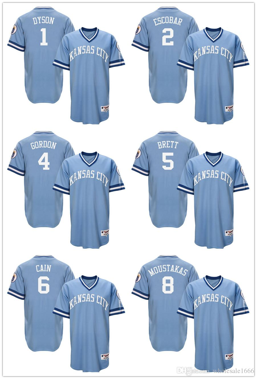 half off 9e288 c3772 kansas city royals 5 george brett light blue throwback jersey