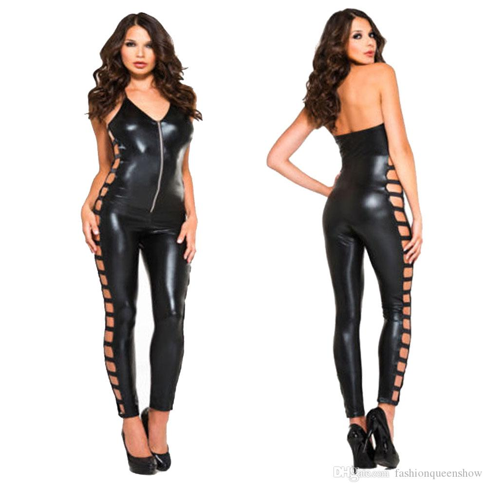 eadb2805519 2019 Sexy Backless Women Catsuit Skinny Deep V Neck Jumpsuit Zipper Faux  Leather Bodysuit Hollow Out Legs Tights From Fashionqueenshow