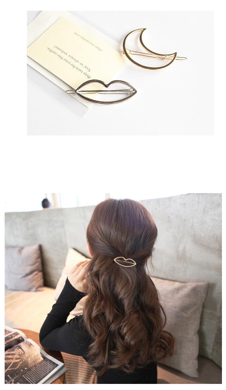 2017 New Hair Clip Vintage Lip Moon Triangle Circle Hairclip Hair Pins Women Girls Metal Hair Jewelry Accessories