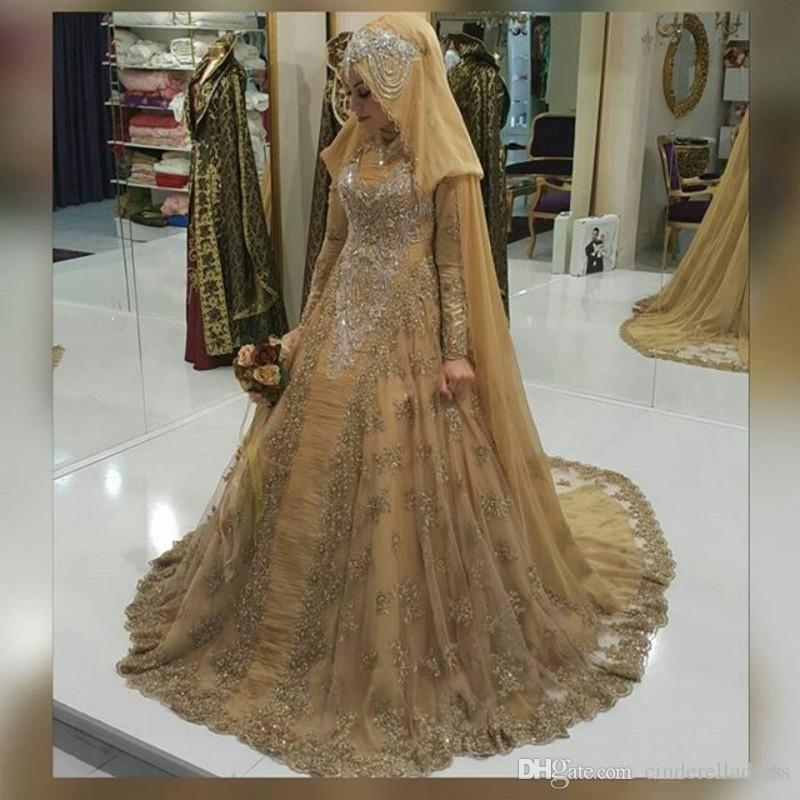 Vintage Gold Lace Muslim Wedding Dresses 2017 High Neck Long Sleeves Appliques Crystal Beading A-Line Plus Size Bridal Gowns