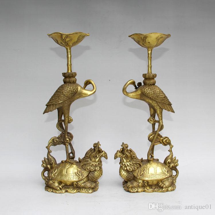 Пара латунь резной Лотос птица кран Дракон Черепаха свеча подсвечник статуя украшения дома