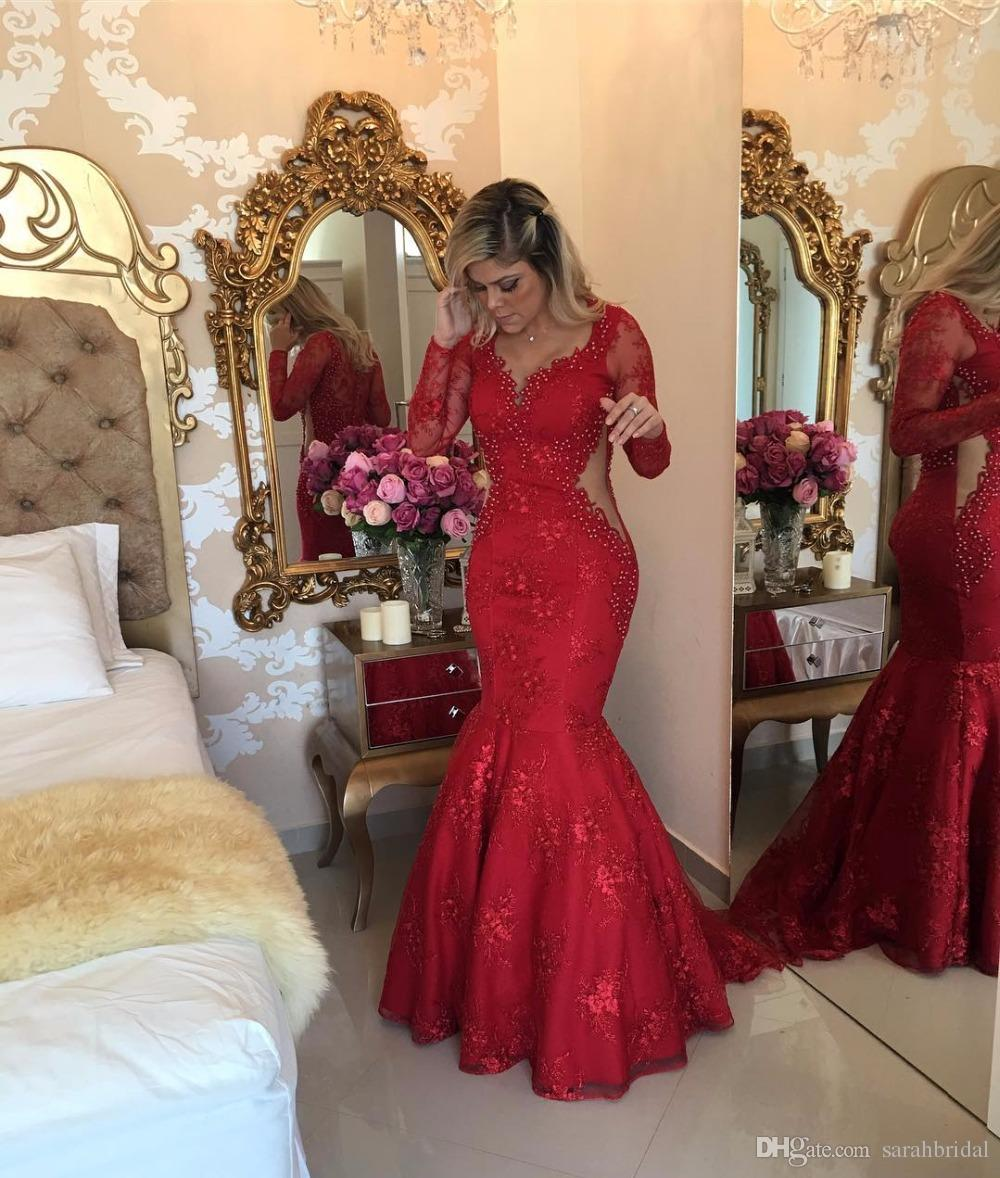 2017 New plus size Elegant Red evening dress full lace prom dress mermaid Celebrity dubai pregnant Applique evening gown beadings qw 2016