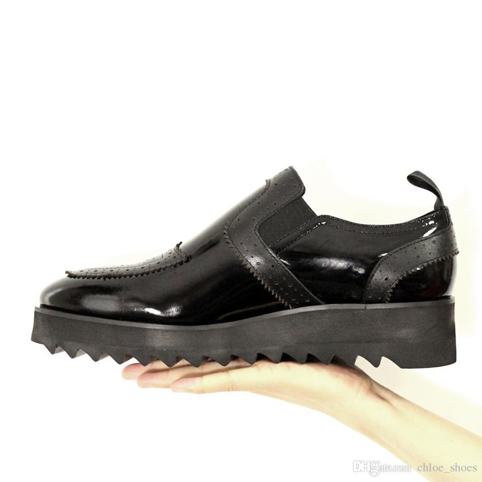 Preto Esculpido Sapatos Homens Sapatas Loose Plataforma Alta Plataforma Ocasional Moccasion Moccasion Zapatillas Lace Up Britânica Lazy Handmade Mens Sapato