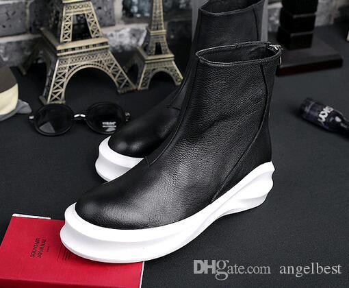 korean style platform men boots soft genuine leather ankle boots motorcycle shoes high tops damping sole thick heel sport boots back zipper