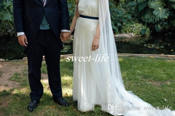 2017 Newest Bohemian Wedding Dresses Sheer Neck Flowing Ribbon Sleeves Lace Appliques Country Bridal Gowns with Navy Blue Sash Custom Made