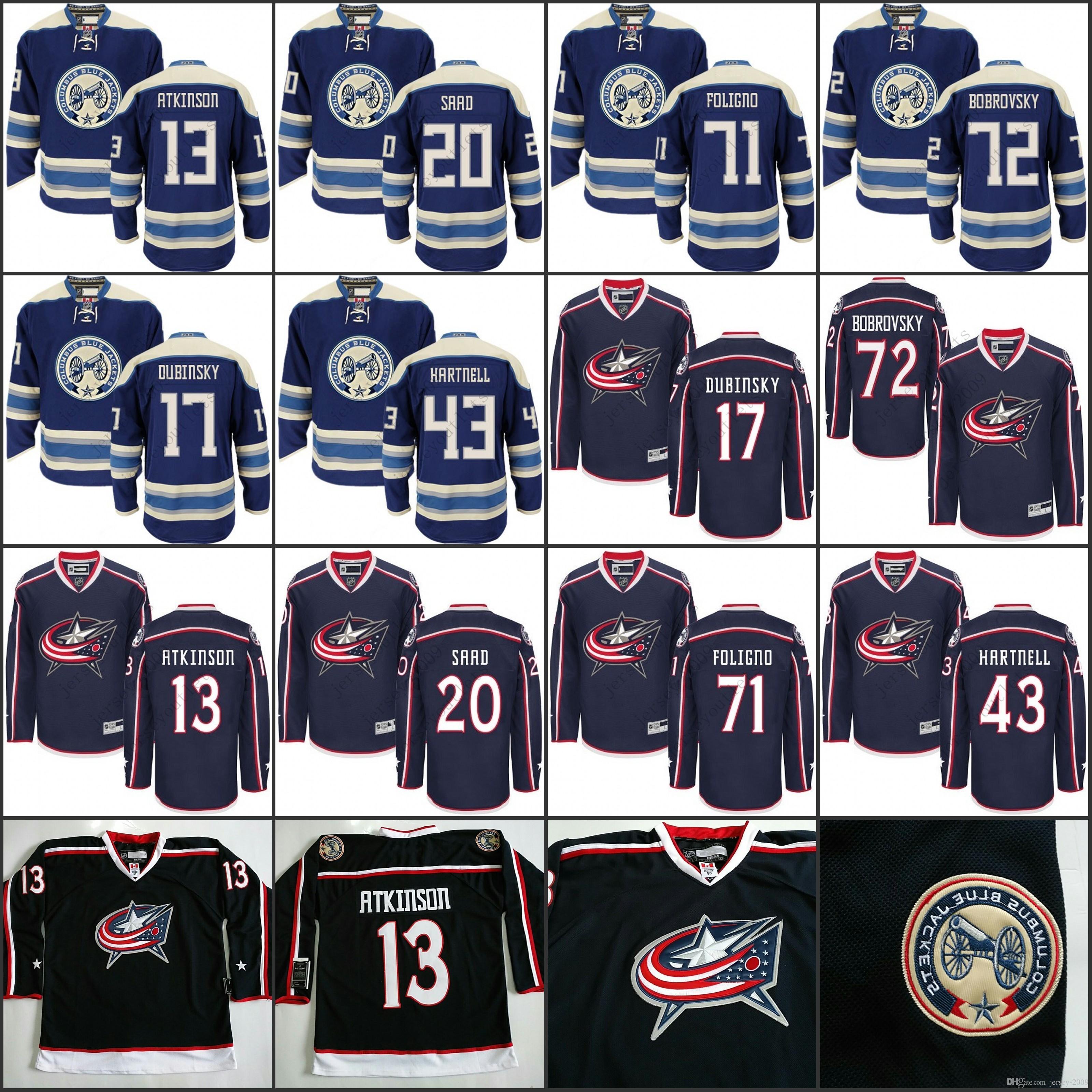 2de960409 2018 Men Columbus Blue Jackets 13 Cam Atkinson 20 Brandon Saad 43 ...