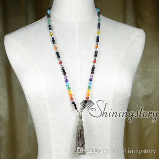 7 chakra jewelry seven chakra necklaces with tassel meditation beads indian karma prayer beads tassel necklace wholesale yoga jewelry