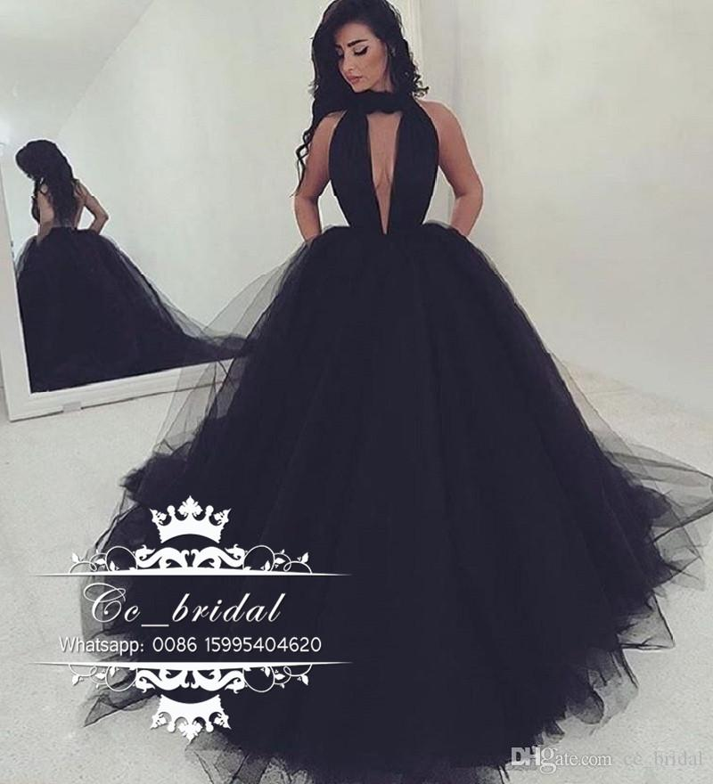 2c5aec4b52 Sexy Halter Backless Black Prom Dresses 2017 New Long Formal Dress Evening  Wear Puffy Tulle Women Cocktail Party Gowns Custom Made Prom Dresses Online  ...