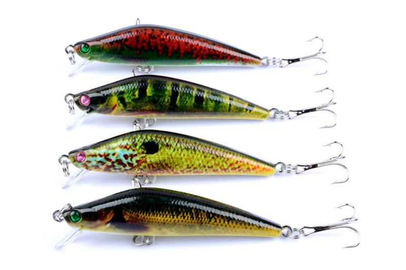 Colorful Painted Laser Minnow Crank bait Rattlin lure 8cm 8.2g Fly Fishing simulation Fish swimbaits hooks