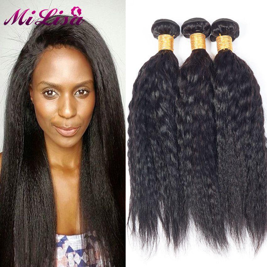 Malaysian Kinky Straight Hair Weave Yaki Straight Malaysian Virgin