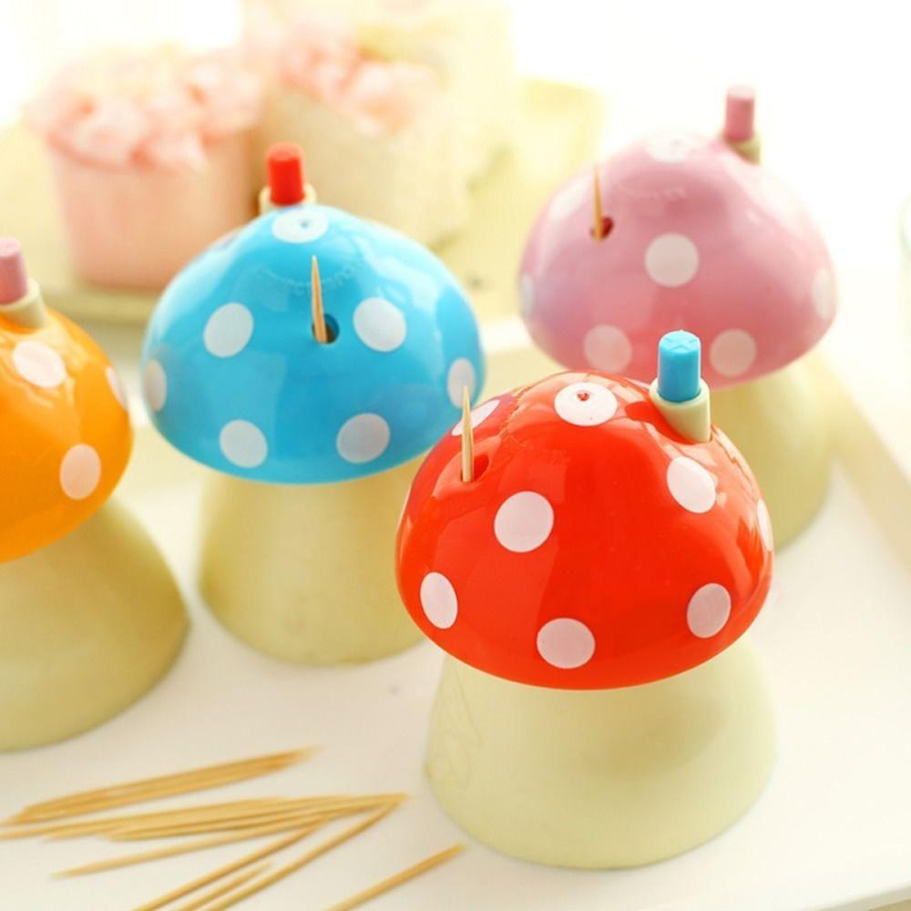 Wholesale- New pocket Plastic Mushroom Design Automatic Toothpick Holder dispenser Box Toothpick case Storage