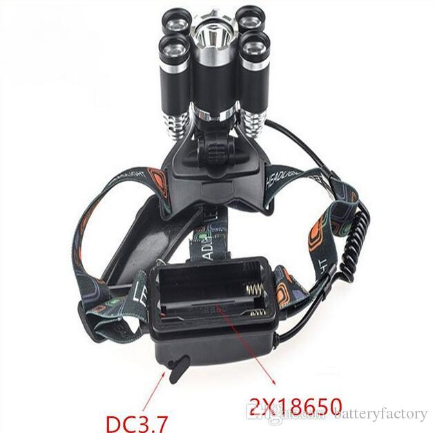 Linterna de 5 LED 8000 lúmenes Cree XM-L T6 Lámpara de cabeza Lámpara de alta potencia LED + 18650 Batería + Cargador + cargador de coche