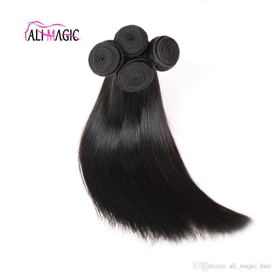Ali Magie Fabrik Großhandelsqualitäts-Haar-einschlagkörper-Wellen-Menschenhaar-Webart Gerade tiefe Welle Gelockt Virgin Rohboden Natur Farbe