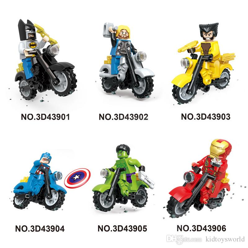 high quality Mini figures motorcycle super man/ninjial/spiderman/ Building Blocks Baby Brick toy Kids Gift from shenzhen