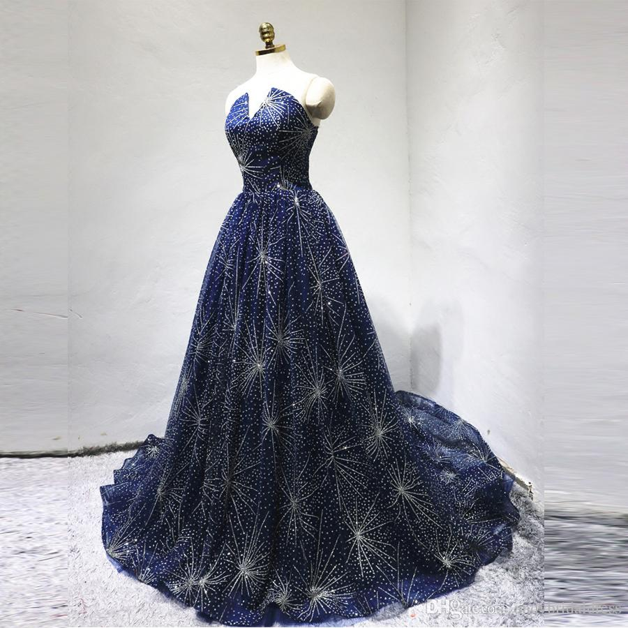 2018 Latest Design Luxury Royal Blue Sequin Crystal Evening Dress Prom Gown  Sparkly Sleeveless A Line Prom Dresses Party Gowns Black And White Prom  Dress ... 9185215a97ab