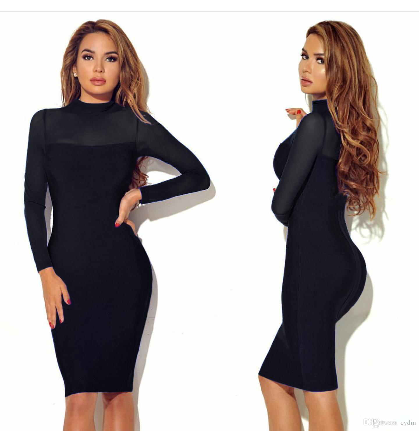 2019 European spring autumn style Solid color sleeve long sleeve perspective sexy nightclub dress.support mixed batch