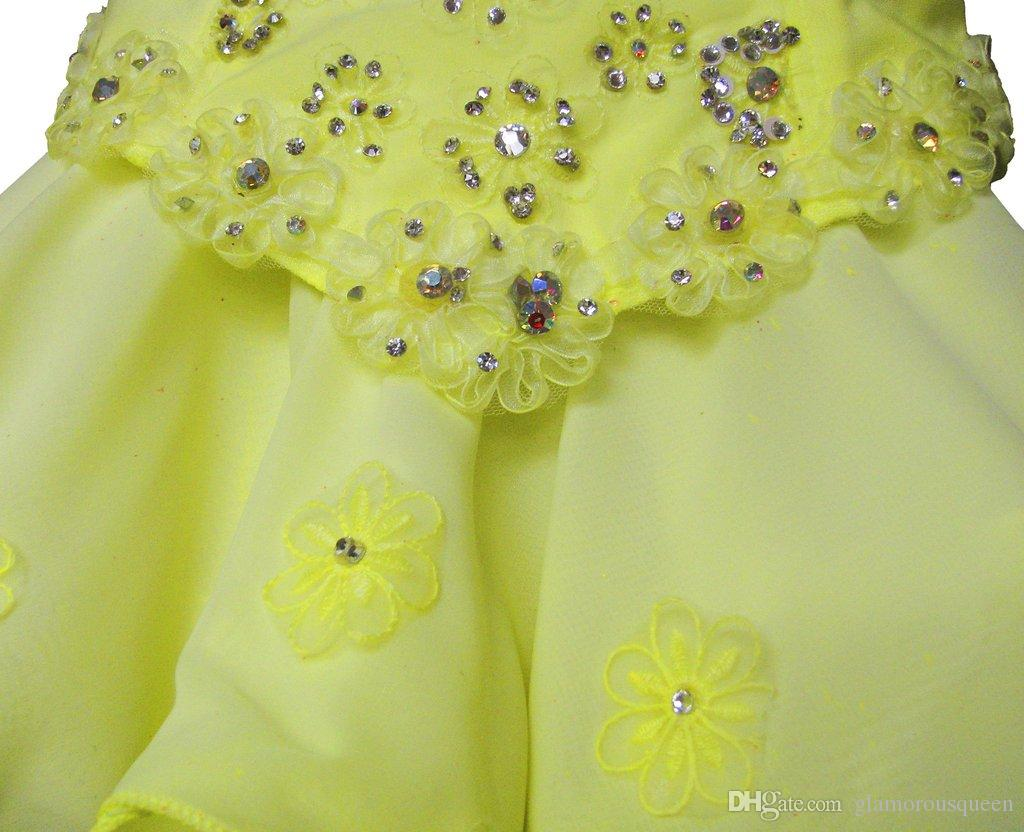A Line Jewel Mini Short Organza Chiffon Cap Sleeve Pageant Little Girl's Dresses With Crystal Beaded Bling Lovely Cute Flower Girls' Dress