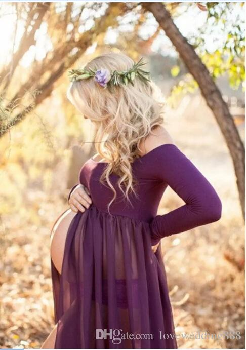 2019 Simple Chiffon Gowns Pregnant Women Dresses with Long Sleeves Floor Length Sexy Off the Shoulder Maternity Wedding Party Gowns