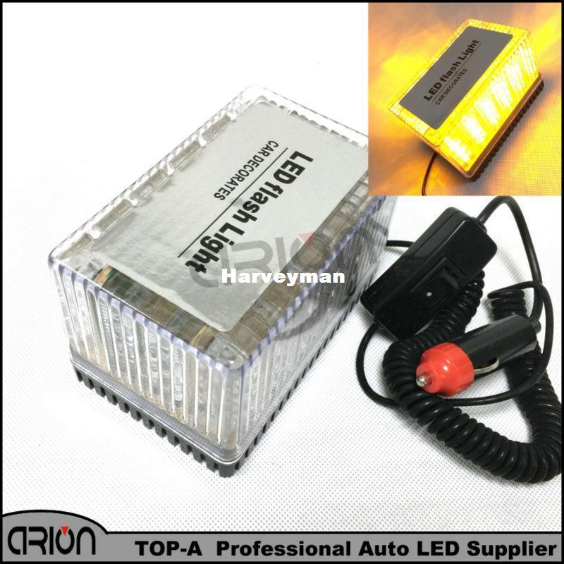 no Sound Security & Protection 12v-24v Car Led Flashing Strobe Beacon Emergency Warning Alarm Flash Light Lamp Amber Common Car Truck Auto