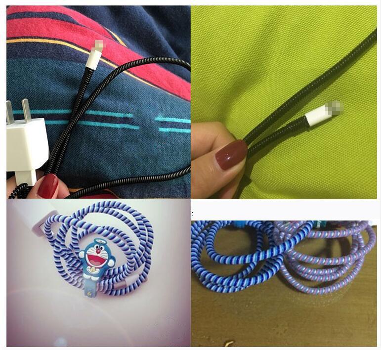 Enrouleur de câble de câble de chargeur USB en spirale en plastique de couleur / enroulement de câble d'enroulement pour organiser des câbles de charge, 50cm /