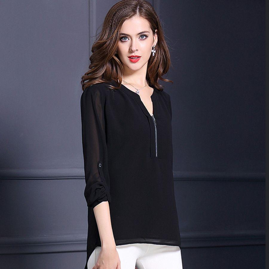 Ladies Chiffon Shirt Blouse Long Sleeve Tops Sexy Shirt Lady ...