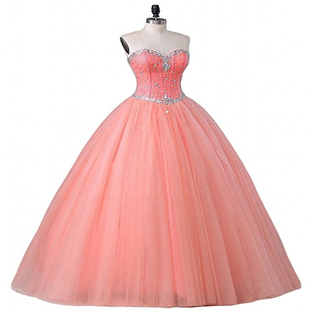 Hot Sale Ball Gown Quinceanera Dresses Sweetheart Neck Beading Crystals Sweet 15 16 Prom Dresses Quinceanera Gowns Party Dresses