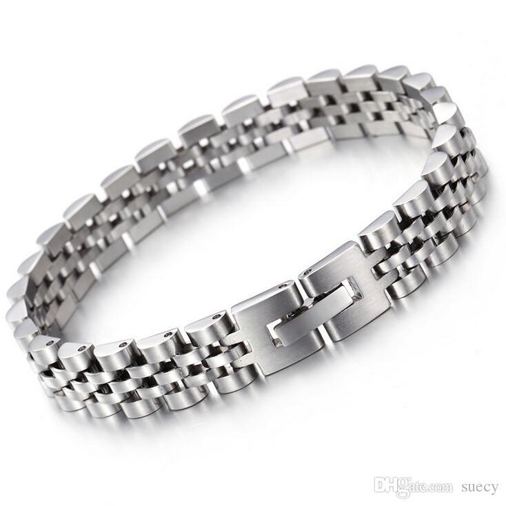 10 milímetros 15 milímetros de Prata / Ouro de aço inoxidável Hiphop Moda de Nova tipo de construção watchstrap Chain Link Bracelet Bangle por Mulheres Homens presentes 20-20.5CM