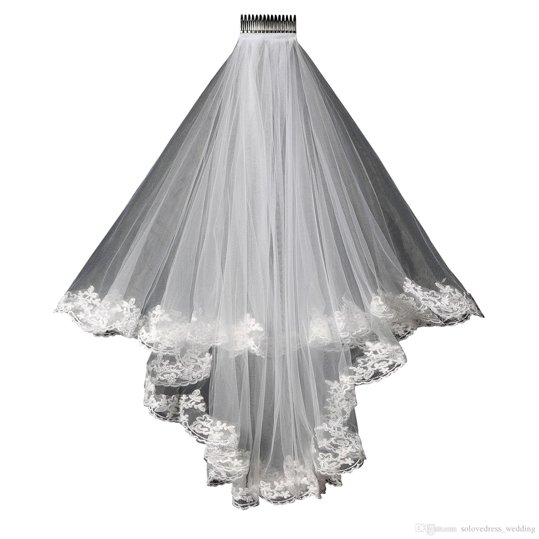 2019 جديد الدانتيل الزفاف الحجاب الدانتيل تصميم قصير واحدة زفاف العروس الحجاب طويل الشعر مشط شحن مجاني في المخزون