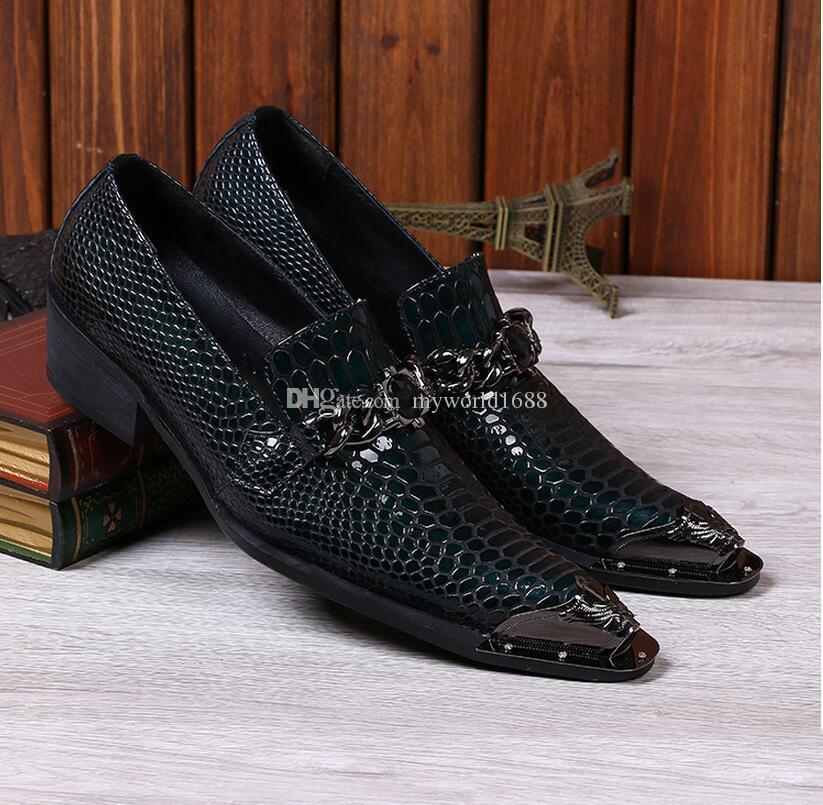 Men Snake Metallic Italian Shoes Men Leather Formal Slip-On Oxfords Shoes Skin Famous Designer Business Italian Flat Party Shoes