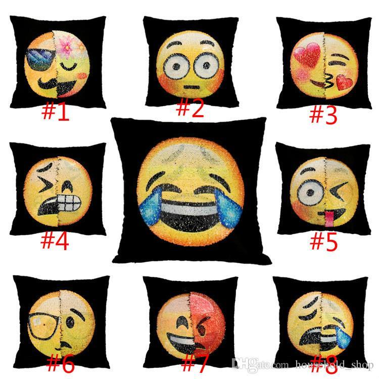 DHL Pailletten Emoji Kissenbezug Meerjungfrau Kissen Farbverlauf Ändern Gesicht Doppel Farbe Kissenbezug Weichen Auto Sofa Ornament Helle Abdeckungen