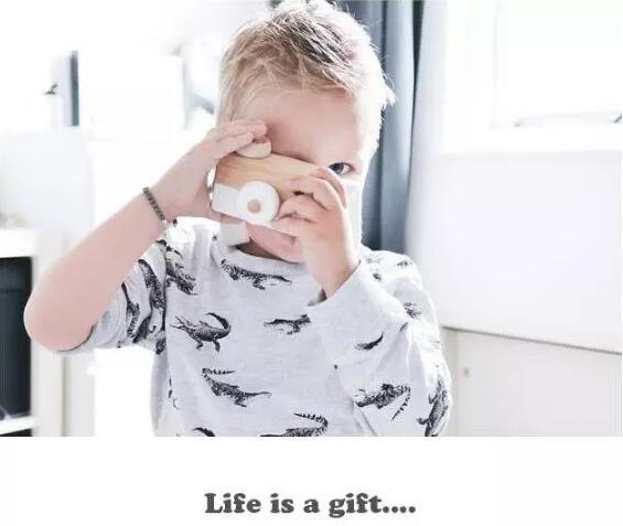 Mini giocattolo di legno della macchina fotografica di i che appende sul collo legno antistatico e naturale la decorazione della stanza del bambino del bambino