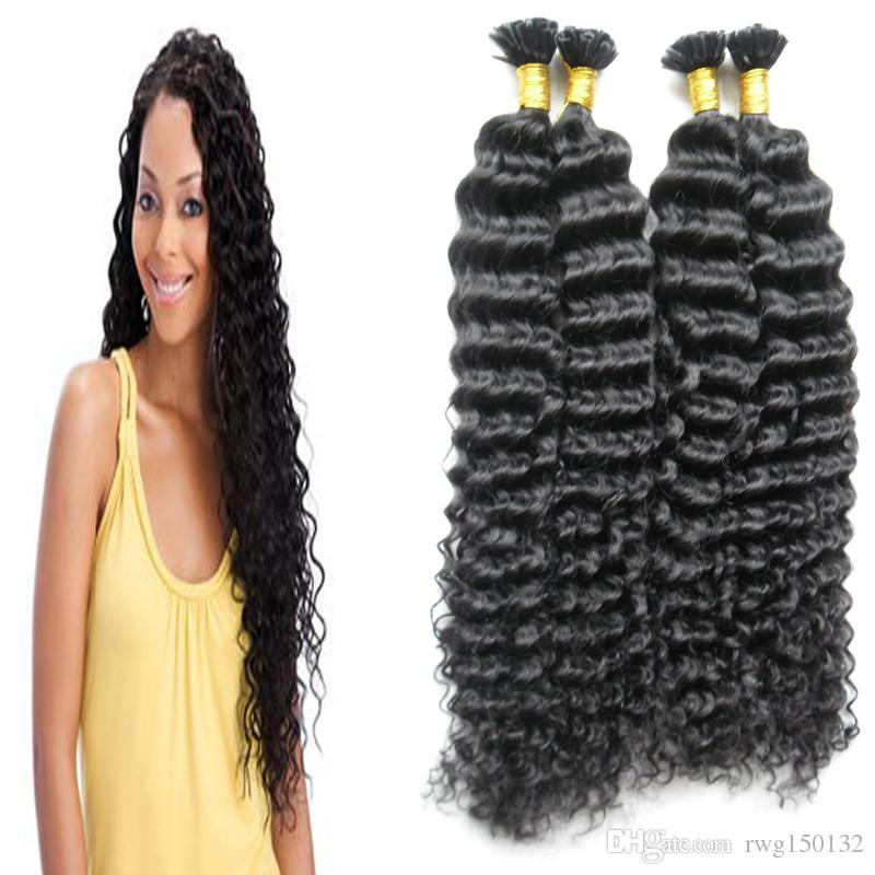 Black brazilian kinky curly u tip hair extensions human fusion see larger image pmusecretfo Image collections