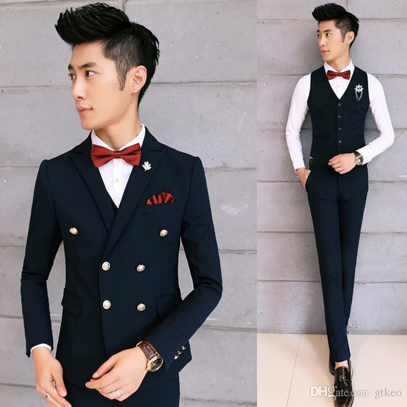 2017 Mens Double Breasted Suit 2017 New Arrival Wedding Dress Men ...