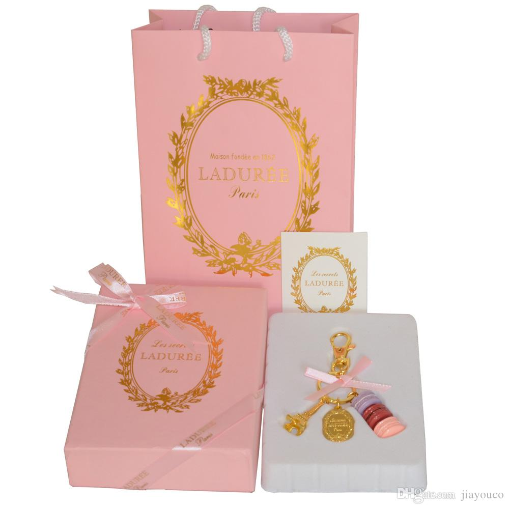 New Pink France LADUREE Effiel Tower Keychain Fashion Macarons Cake ...