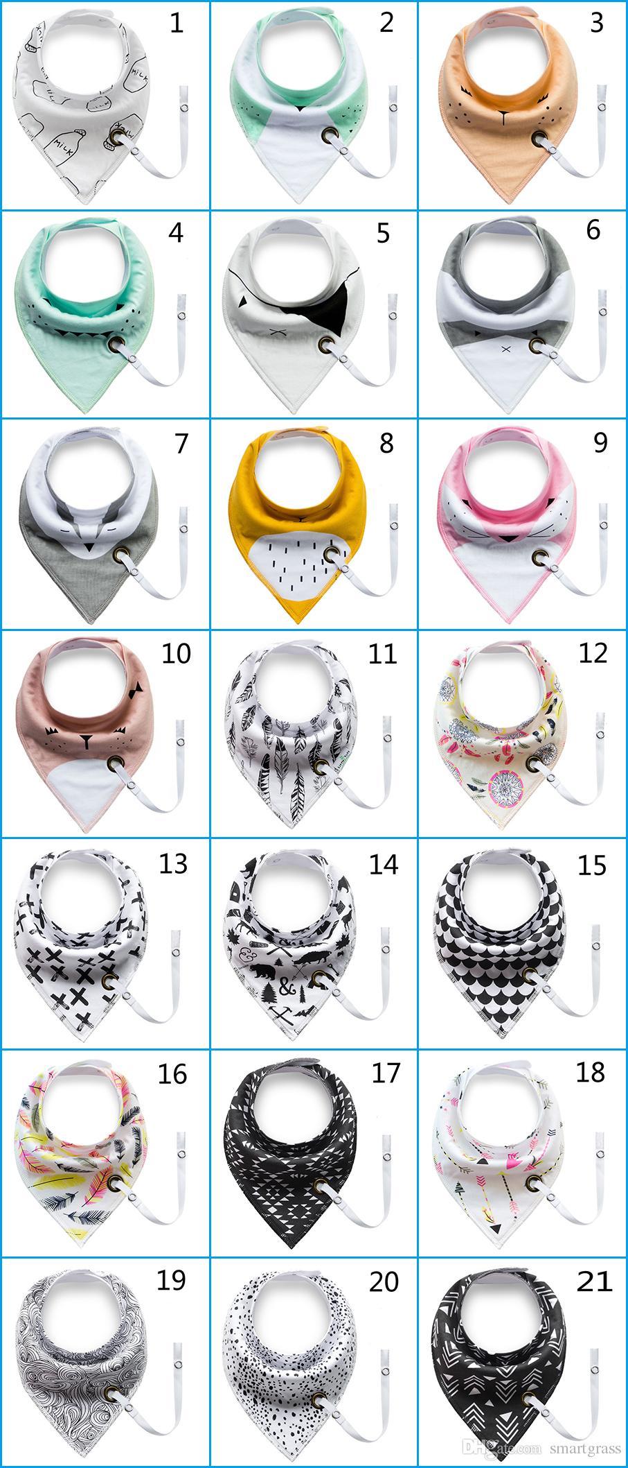 INS Pacifier Clip Babies Bibs Triangle Waterproof Bibs fox Saliva Kerchiefs 29 Patterns Cotton Baby Bandana