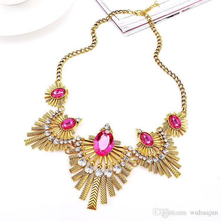 2017 Women Fashion Shourouk Oval Gemstone Necklace Leaf Alloy Shape Necklaces Gold/Silver Plated Short Necklace Lady Fashion Jewelry