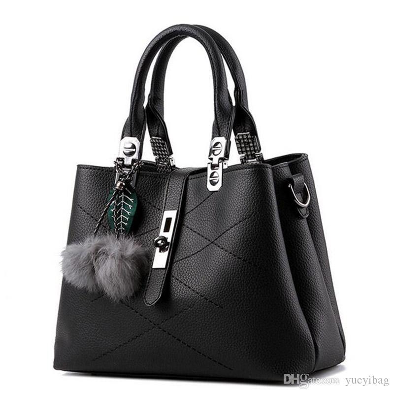 2017 Fashion Women Handbags Pompom Handbag Classic Women Pu ...