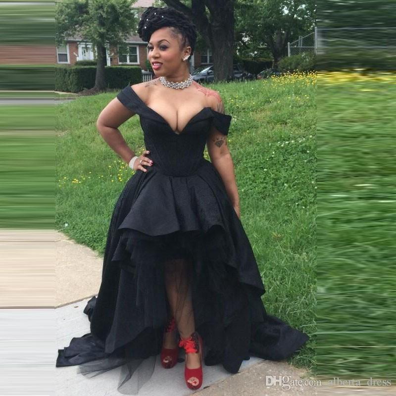 Dubaï Sexy Noir Haut Bas Robes De Bal D'épaule Profonde Col En V Style Africain Filles Noires Soirée Formelle Robes De Graduation