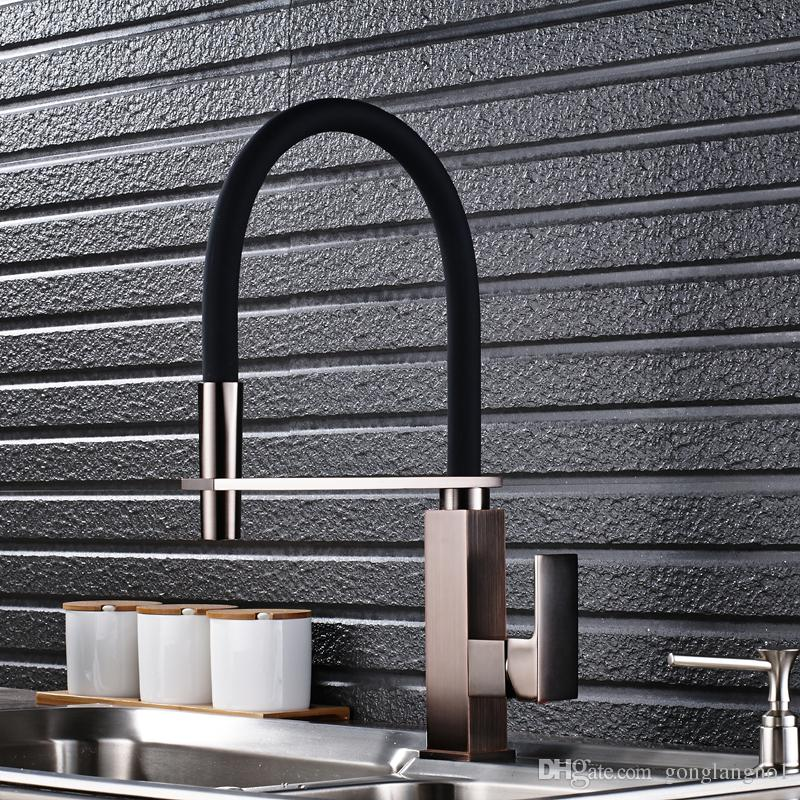 Wholesale And Retail New Style Black Brushed Nickel Kitchen Faucet Single  Hand and Single Hole Sink Cold and Hot Water Tap