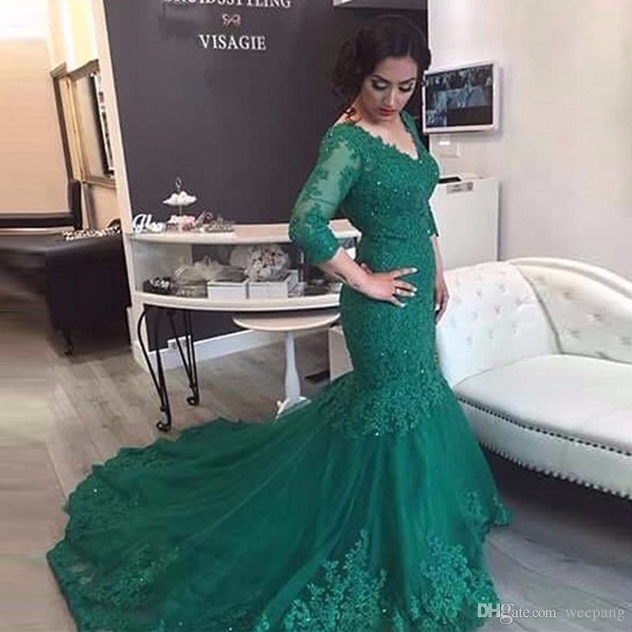 Hunter Green Lace Evening Dresses 2017 with Sleeves V Neck Mermaid ...