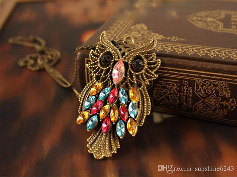 سبيكة مع أحجار الراين قلادات الرجعية البومة الملونة حجر الراين البرونزية سحر سلسلة طويلة قلادة قلادة المجوهرات