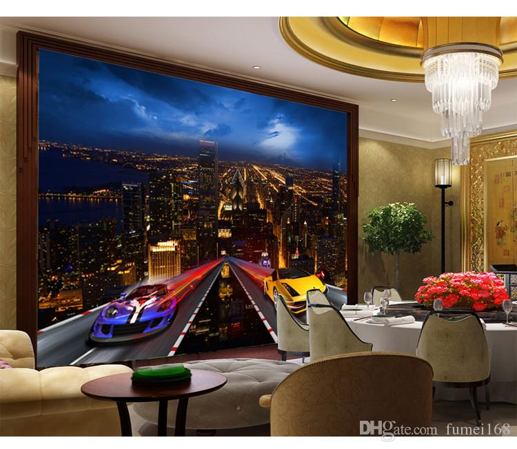 Wholesale Modern City Night Cars Mural 3d Wall Mural For