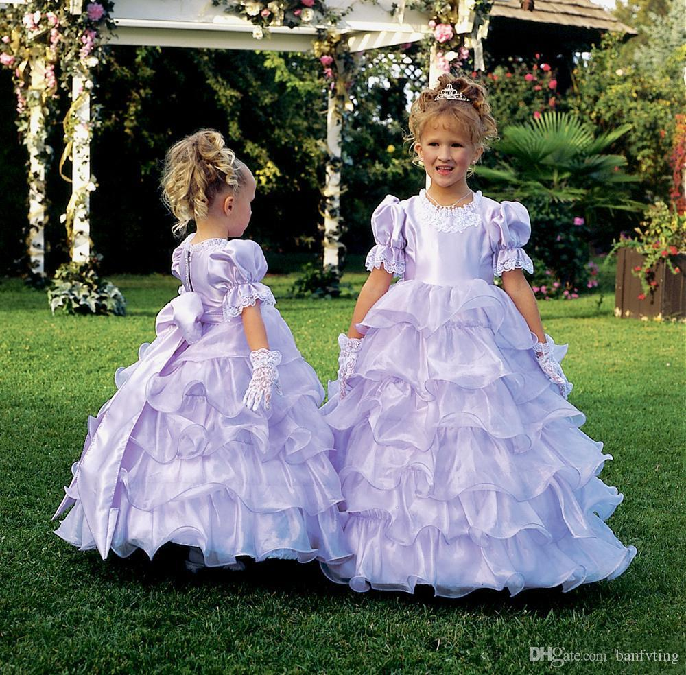 Medieval light purple flower girl dresses for weddings bubble medieval light purple flower girl dresses for weddings bubble sleeves lovely junior bridesmaid dress kids graduation party gowns layers ivory dresses long ombrellifo Images