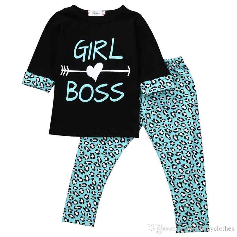 Autumn Girls Back to School Toddler Outfit Moda Leopard Printed Kids Boutique Set de ropa Western Girls 2 piezas niñas camisetas conjunto de pantalones