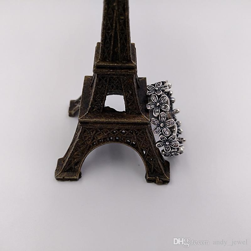 Autentico 925 anelli in argento sterling da 925 abbaglianti anello a band daisy adatti gioielli in stile Pandora europeo 190934CZ