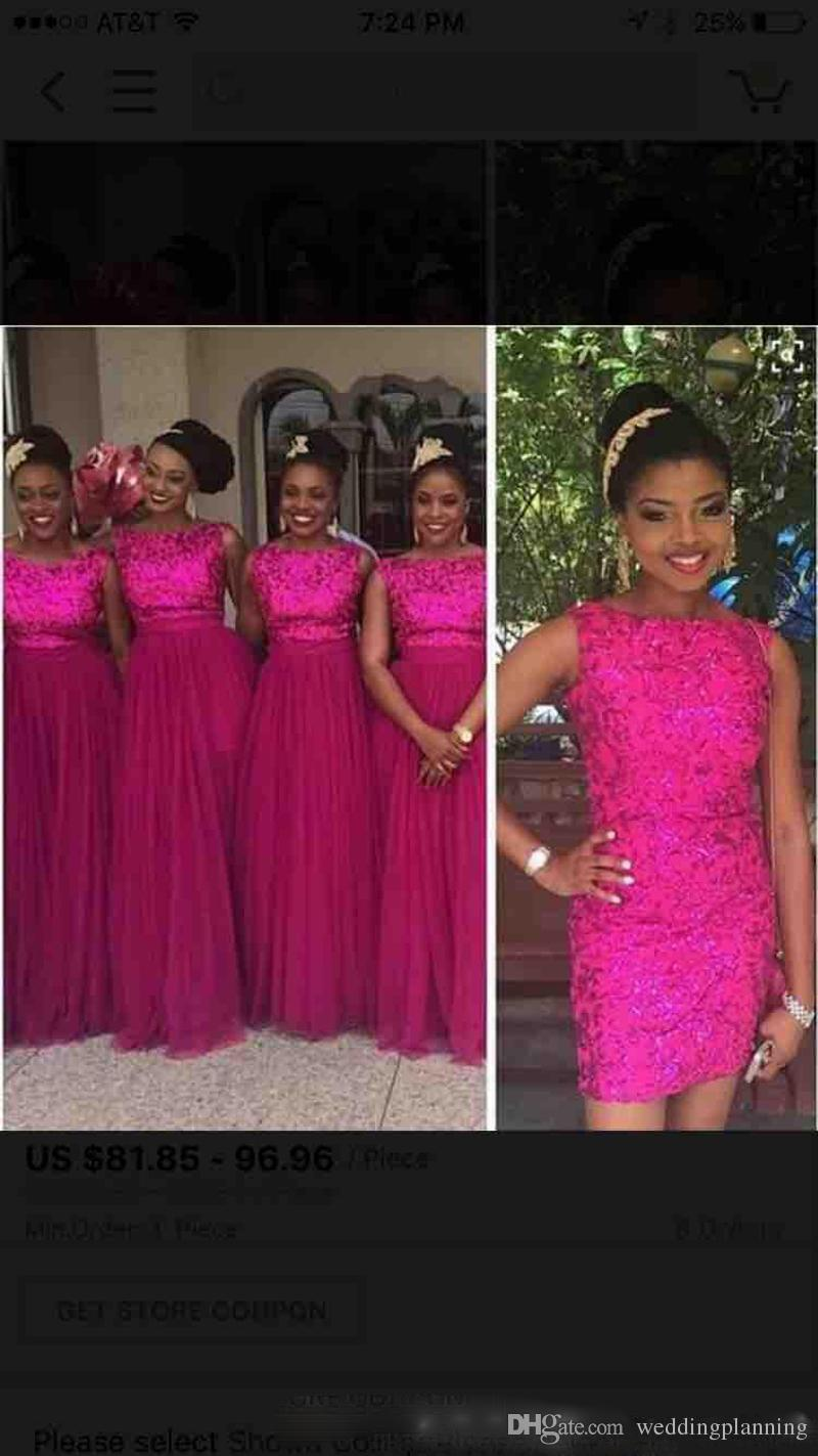 Rose Red Lace Sequin Formal Bridesmaid Dresses 2017 With Removable Skirt Long Tulle Wedding Party Guest Dresses Nigerian African Style Plus
