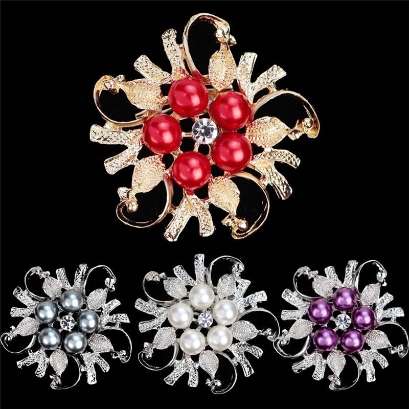 Crystal Flower Bouquet Pearl Brooch Silver Plated Brooches Pins ...
