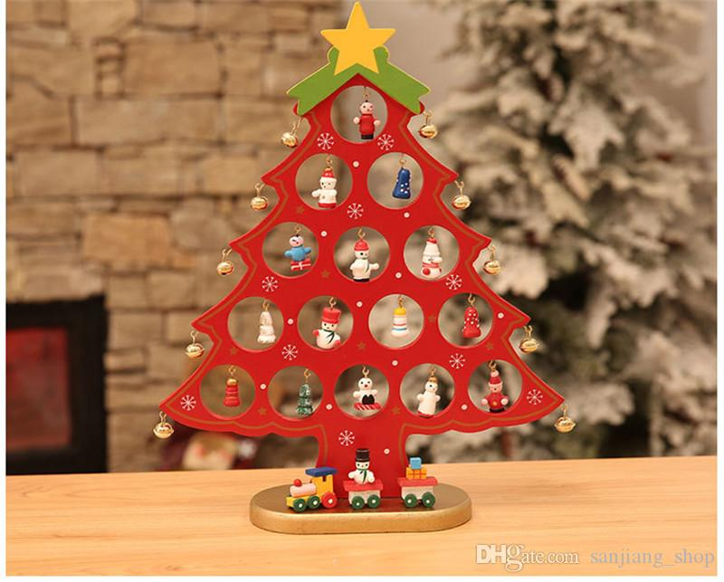 Christmas Tree Wooden Tabletop Decorations Accessories Diy Handcrafted Decorative Tree Decoration Christmas Party3 Color 2 Hot