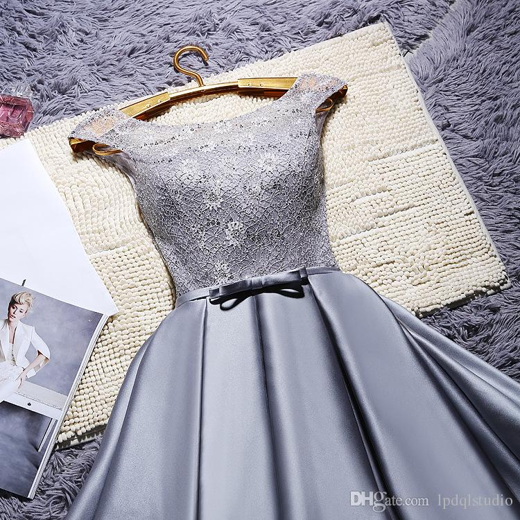Silver Gray Party Dresses Arrival Real Photos Satin with Lace Prom Gowns Knee-Length Red,Royal Blue,Champagne,Red Cocktail Dress