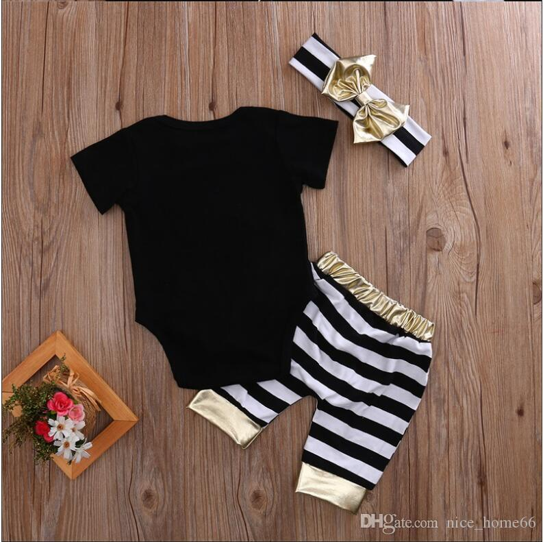 Newborn Baby Girls Clothing sets Letter Printed Tops T-shirt Romper+Striped Leggings Pants Kids Outfits Set with Bow Headband Baby Sets